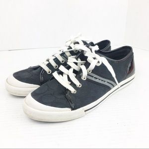 SZ 9.5 Coach Folly Black & White Monogram Sneakers